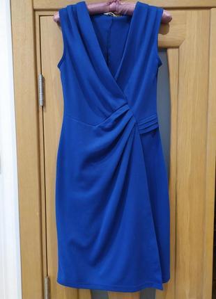 Красивенное стильное синее платье на запах