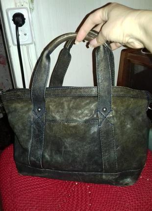 Крутая стильная сумка из натуральной потертой  мягкой кожи