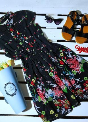 Платье черное летние принт цветы