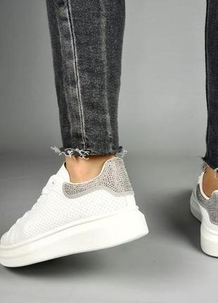 Кеды 🌿 кроссовки кеди мокасины белые базовые стразы