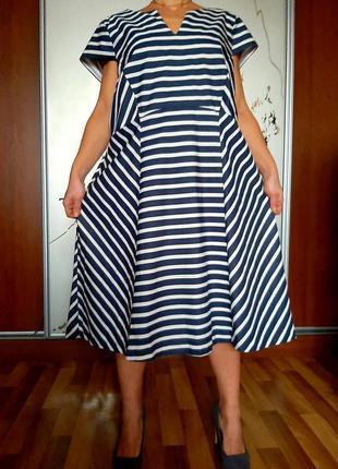 Хлопковое платье в полосочку в морском стиле studio 8