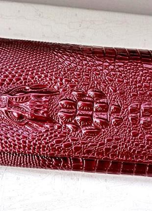 Красивый женский кошелек cossroll аллигатор. клатч кожа.  женское портмоне крокодил
