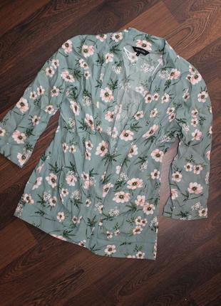 Легкий кардиган пиджак цветочный принт
