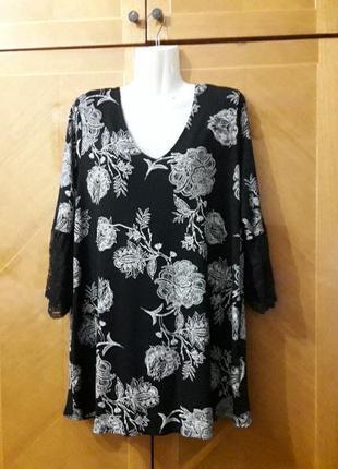 M&s р.16  вискозная нарядная блуза с кружевом на рукавах