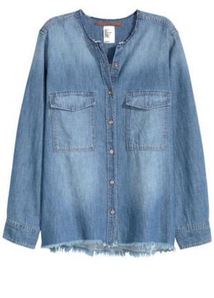 Джинсовая рубашка, оверсайз, женская h&m