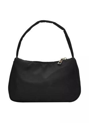 Нейлоновая сумка багет подмышку на плечо чёрная