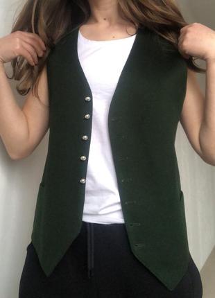 Винтажный  зелёный жилет жилетка из шерсти