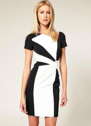 Karen millen платье чёрное белое ассиметрия классическое карандаш футляр