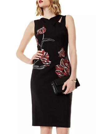 Karen millen платье чёрное с вышивкой бисером красные цветы миди карандаш футляр