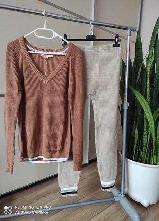 Прогулочный вязаный костюм комплект свитер и штаны 1+1=3