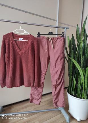 Костюм комплект штаны утеплённые джогеры и свитер с напылением 1+1=3