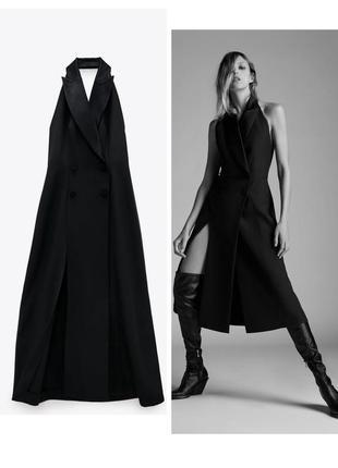 Новое платье zara, двубортное, с горловиной халтер вечернее лимитированная коллекция