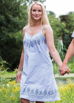 Домашнее летнее хлопковое платье голубого цвета key lnd 313 a21
