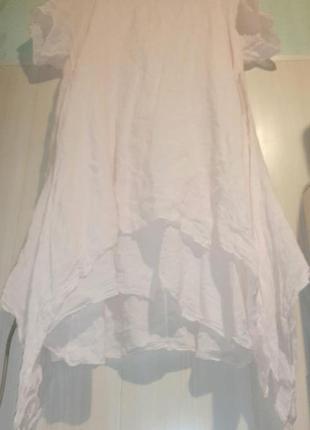 Льняное двойное платье бохо лен льон