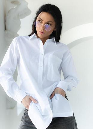 Удлиненная классическая рубашка с длинными рукавами