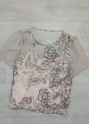 Блуза сетка с паетками
