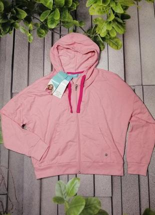 Оверсайз рожева спортивна кофта худі на блискавці