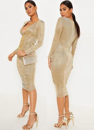 Распродажа! золотистое сверкающее платье prettylittlething миди cо сборкой с asos