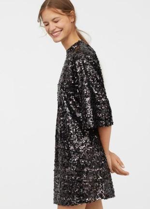 Эффектное вечернее платье мини h&m в пайетки.