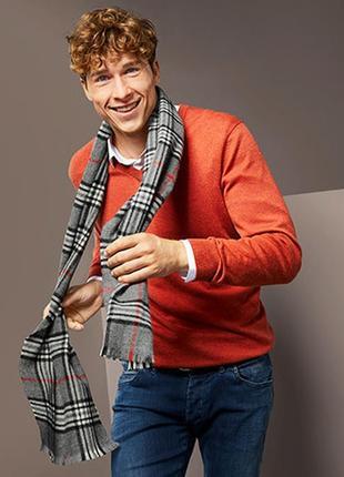 Шикарний мужской теплий кашемировый шарф от тсм tchibo (чибо), германия