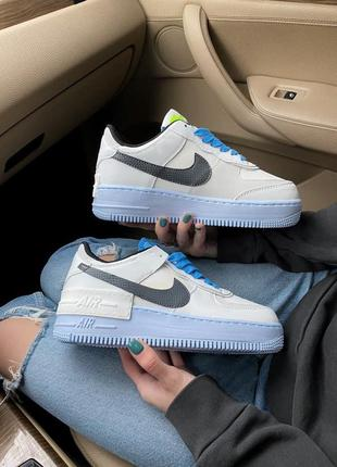 Женские кроссовки nike air force shadow white  blue