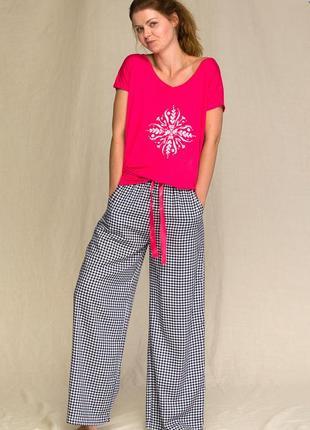 Женский домашний вискозный костюм малинового цвета key lns 451 3 a21