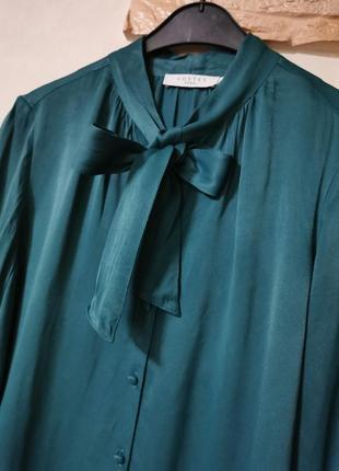 Сатиновая рубашка с бантом,блузка  с галстуком, из вискозы costes+брюки с защипами