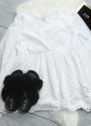 Блуза с прошвой и с расклешенными рукавами divided