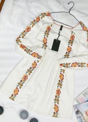 Новое хлопковое платье туника вышиванка yas