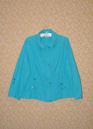 Бирюзовый жакет, летняя куртка 100% коттон р-р 58