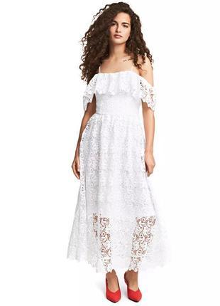 Шикарное вечернее, выпускное, свадебное кружевное платье миди h&m.