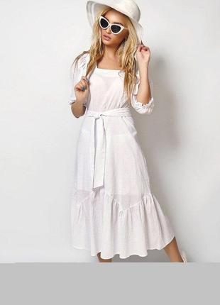 Легкое нарядное белое платье с рукавом 3/4, коттон