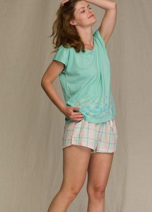 Женский домашний хлопковый костюм мятного цвета key lns 452 a21