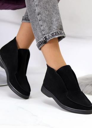 Женские чёрные замшевые туфли лоферы