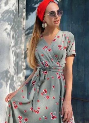 Платье летнее на запах натуральное, штапель, легкое