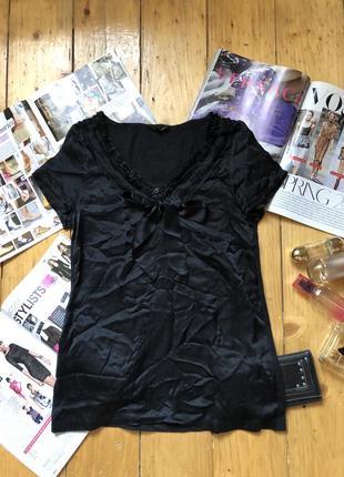 Блуза шелк черная