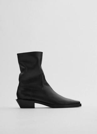 Кожаные ботинки казаки кантри с квадратным носочком от zara оригинал