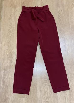 Бордовые женские штаны, высокая посадка, прямые