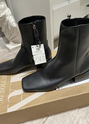 Натуральная кожа ботинки ботильоны с квадратным носом от zara оригинал