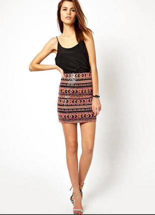 Орнаментная юбка в паетки от asos