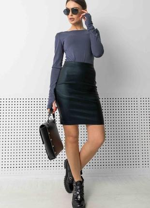Женский джинсово-черный костюм с юбкой-карандаш и кофтой (ко 1421 rmmr)