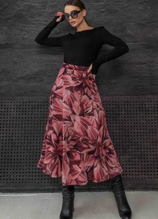Женский костюм с юбкой-миди и лонгсливом (ко 1521rmmr)