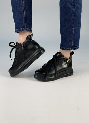 Кожаные высокие кроссовки на толстой подошве!