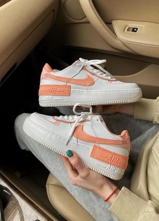 Женские кроссовки nike air force 1 orange/white