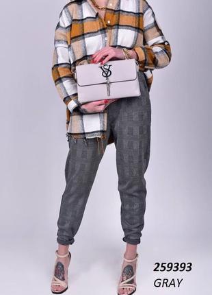 Стильные брюки стрейч на высокой посадке в модную и актуальную клетку