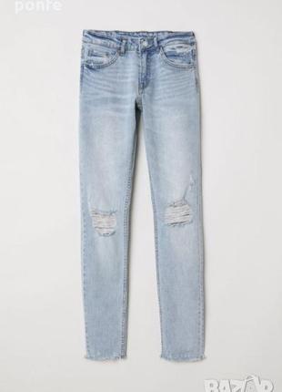 Стильные скини с рваным краем штанины от h&m
