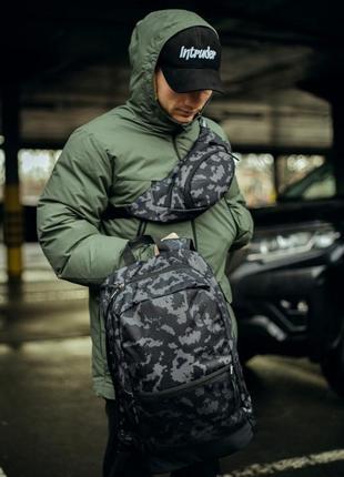 Комплект серый камуфляж рюкзак+ бананка