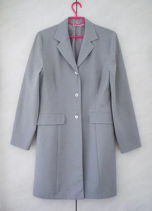 Серый классический удлинённый пиджак офис школа