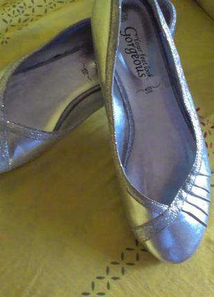 Туфли балетки серебряные стильные 39/ 25см