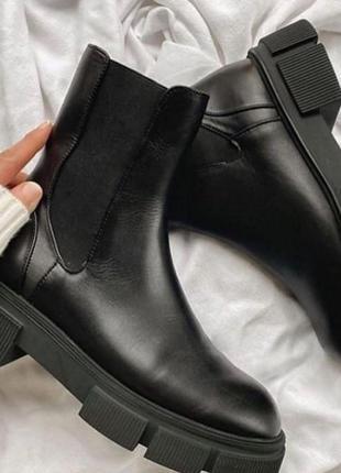 Zara-оригинал челси ботинки из натуральной высококачественной кожи